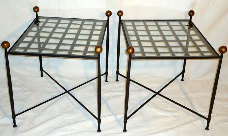 Pair of glass top wrought iron end tables by salterini for Wrought iron and glass side tables