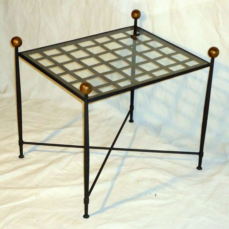 pair of glass top wrought iron end tables by salterini circa 1960 at 1stdibs. Black Bedroom Furniture Sets. Home Design Ideas