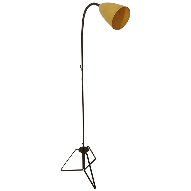 wrought iron goose neck floor lamp circa 1955 california for sale at. Black Bedroom Furniture Sets. Home Design Ideas
