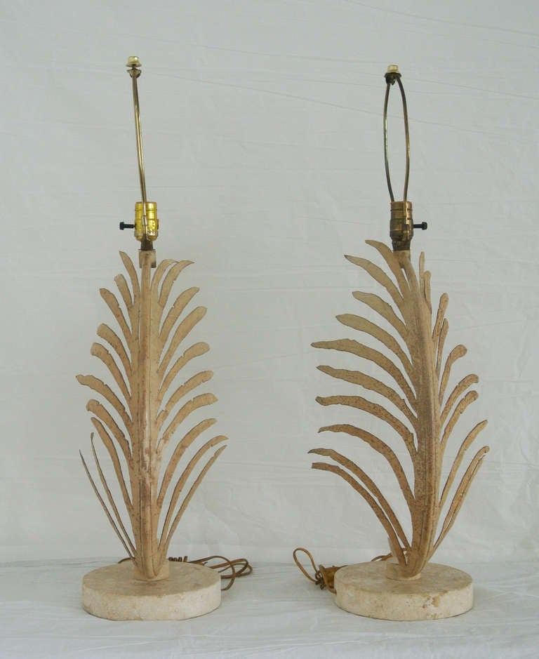 American Michael Taylor Palm Frond Table Lamps, with travertine marble bases,  circa 1985 For Sale