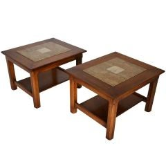 Matched Pair of Stone Inlayed End Tables from Brown Saltman