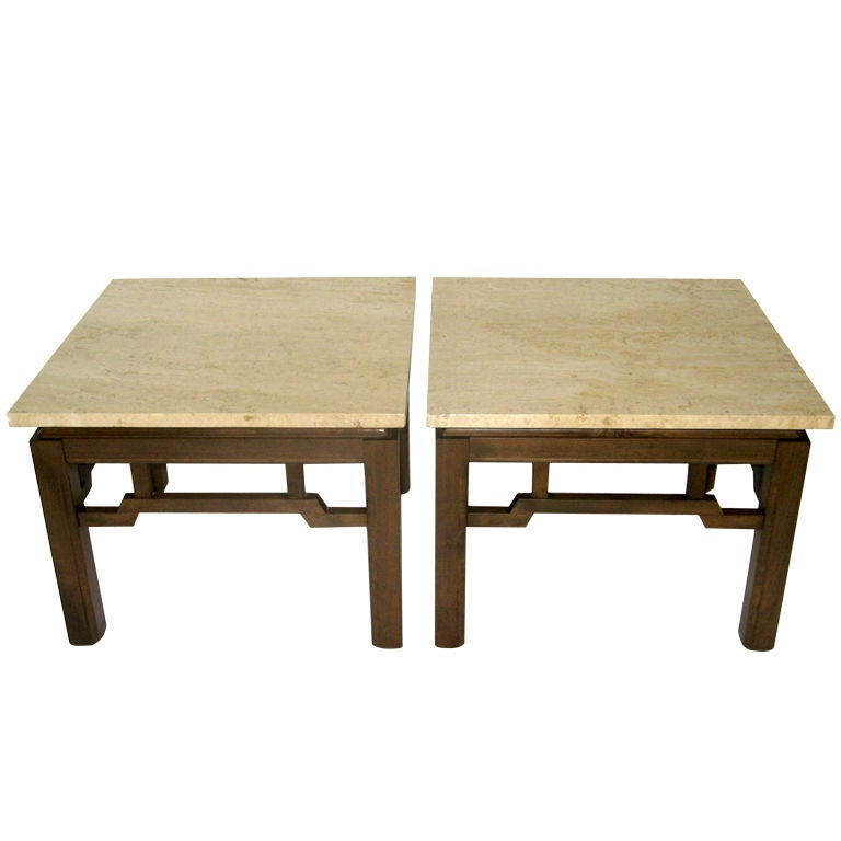 Pair of asian style walnut end tables w marble tops at 1stdibs - Marble tops for furniture ...