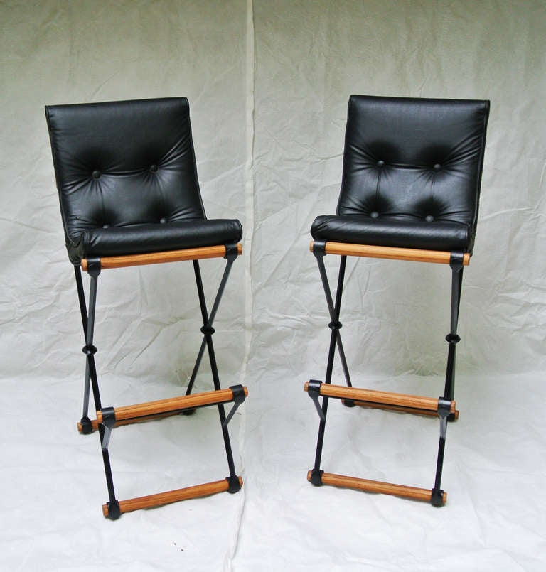 A Clic Pair Of Wrought Iron And Oak X Frame High Back Bar Stools By