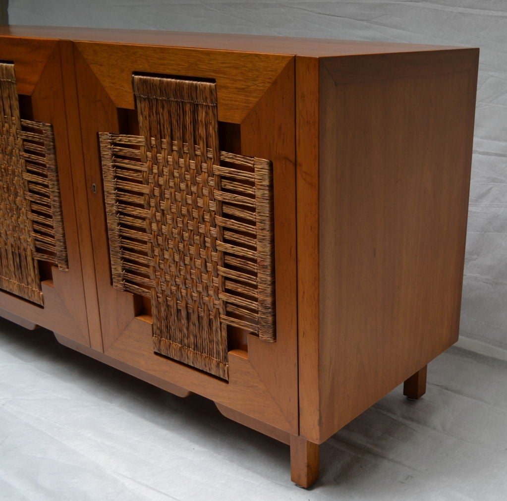 Edmund Spence Mahogany Side Board Woven Sea Grass Faced Doors At 1stdibs