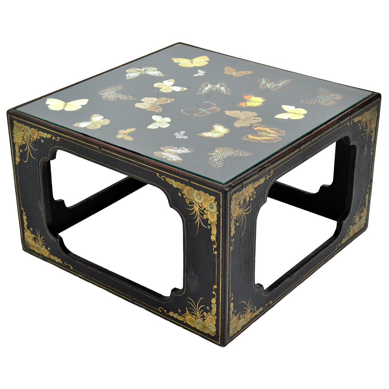 Japanned Edwardian Butterfly Specimen Display Case Or End Table, Circa 1905