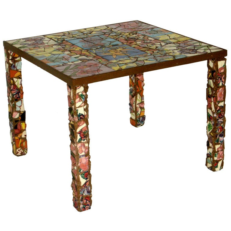 Mid Century Mosaic Studio Tile End Table By Sandra Solomon