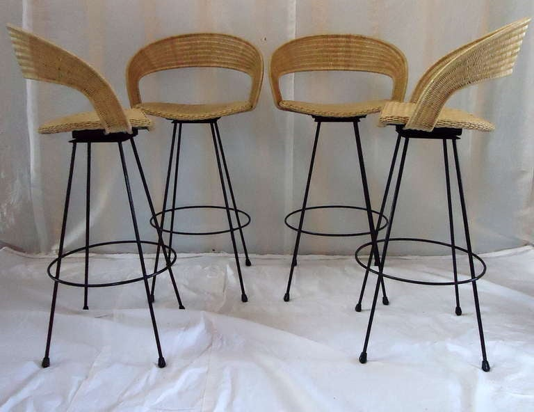 Wicker And Wrought Iron Barstools C 1960 At 1stdibs