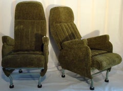 Pair of Warren McArthur Corporation Aircraft Passenger Seats Adjustable c. 1946