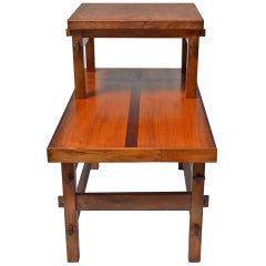 Handcrafted Studio End Table with Mixed Wood Inlay and Pegs, circa 1955