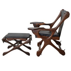 "Don Shoemaker Sling ""Swinger"" Chair and Ottoman, Mexico  1960s"