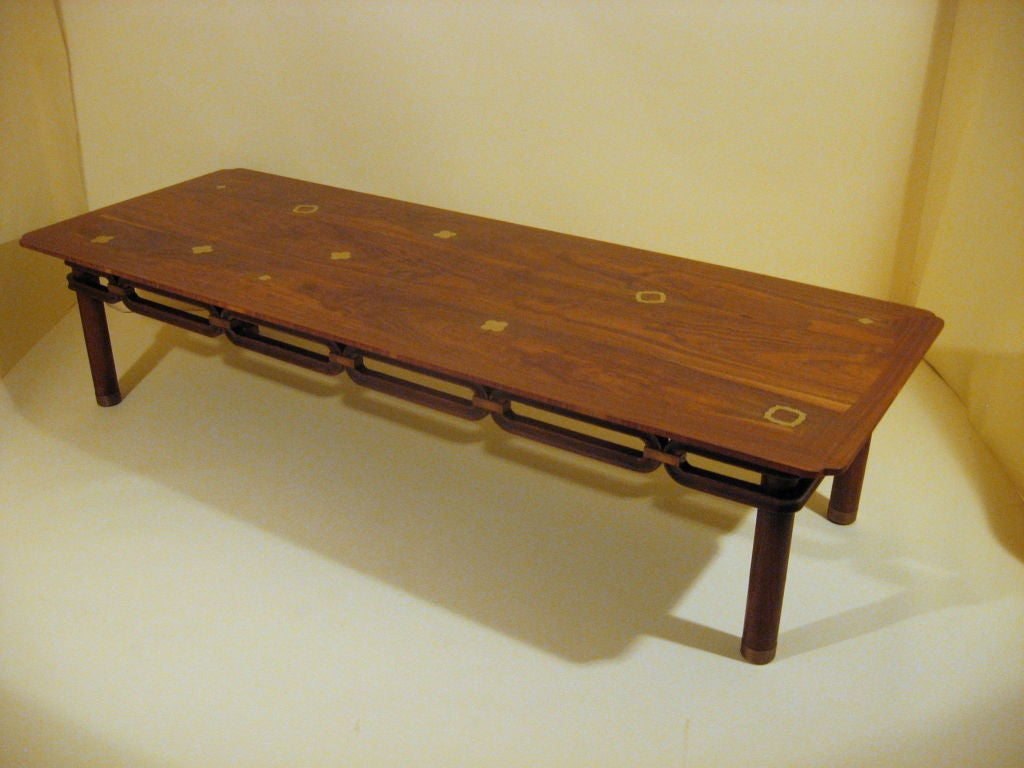 Brass Inlayed Asian Style Coffee Table Johnson Furniture Co Circa 1960 For Sale At 1stdibs