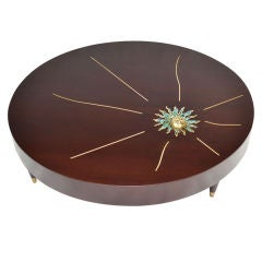 Rare Pepe Mendoza Mahogany Drum Coffee Table 1958