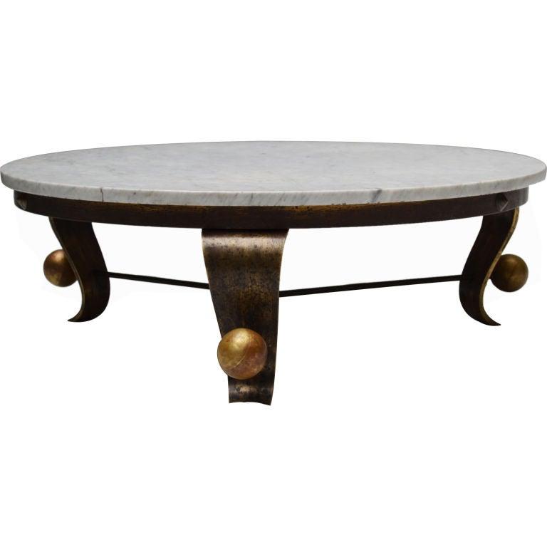 arturo pani carrara marble top cocktail table at 1stdibs. Black Bedroom Furniture Sets. Home Design Ideas