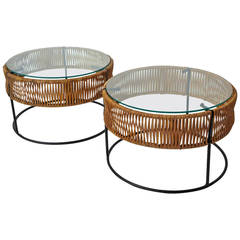 Pair of Wrought Iron and Bamboo End Tables Arthur Umanoff for Bruce Goff