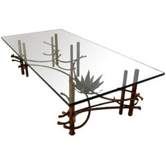 Patinated Copper Glass Lotus Cocktail Table, circa 1960