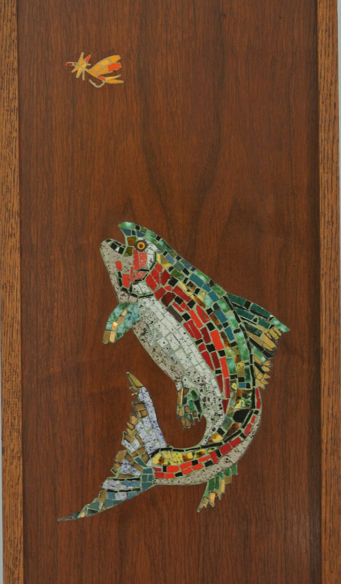 Mid-Century Modern   Mosaic Trout Wall Clock, 1967, Californian Mid-Century Studio Crafted Signed For Sale