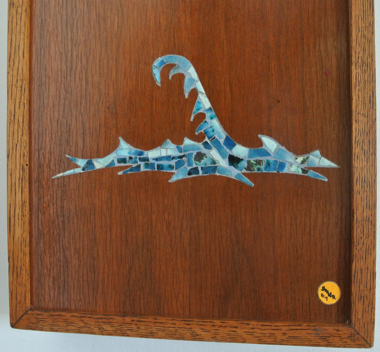 American   Mosaic Trout Wall Clock, 1967, Californian Mid-Century Studio Crafted Signed For Sale