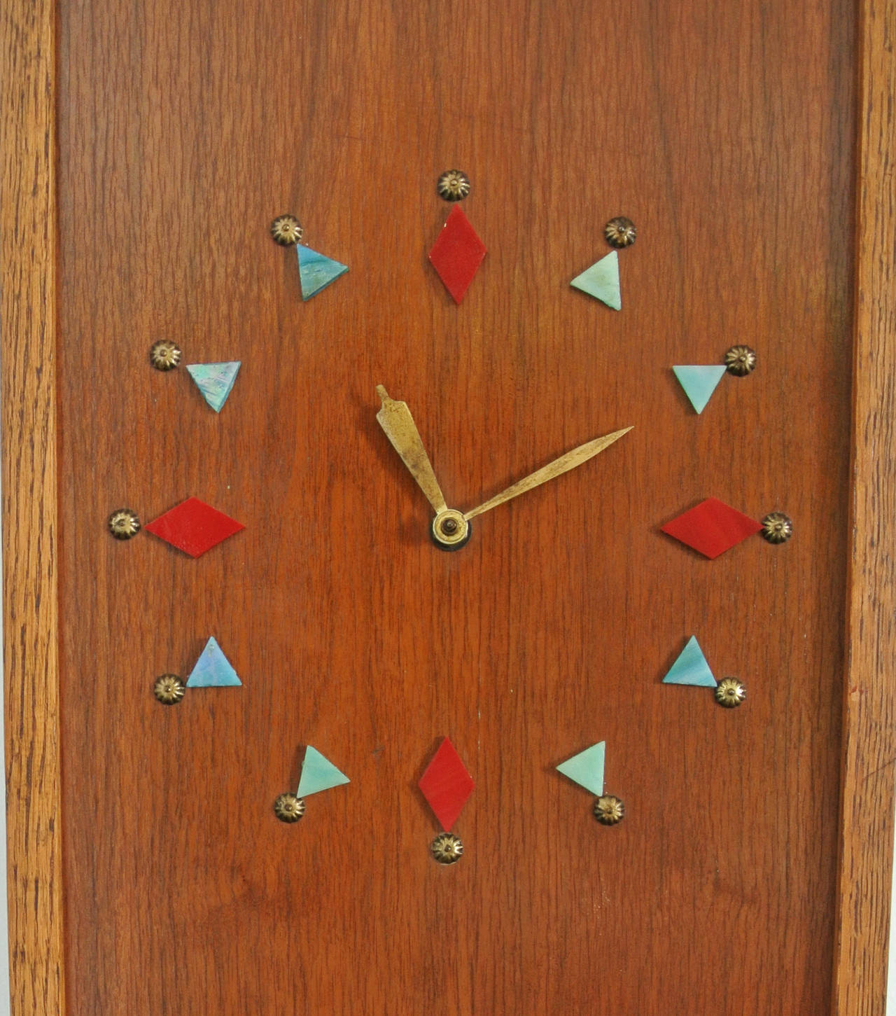 Lacquered   Mosaic Trout Wall Clock, 1967, Californian Mid-Century Studio Crafted Signed For Sale
