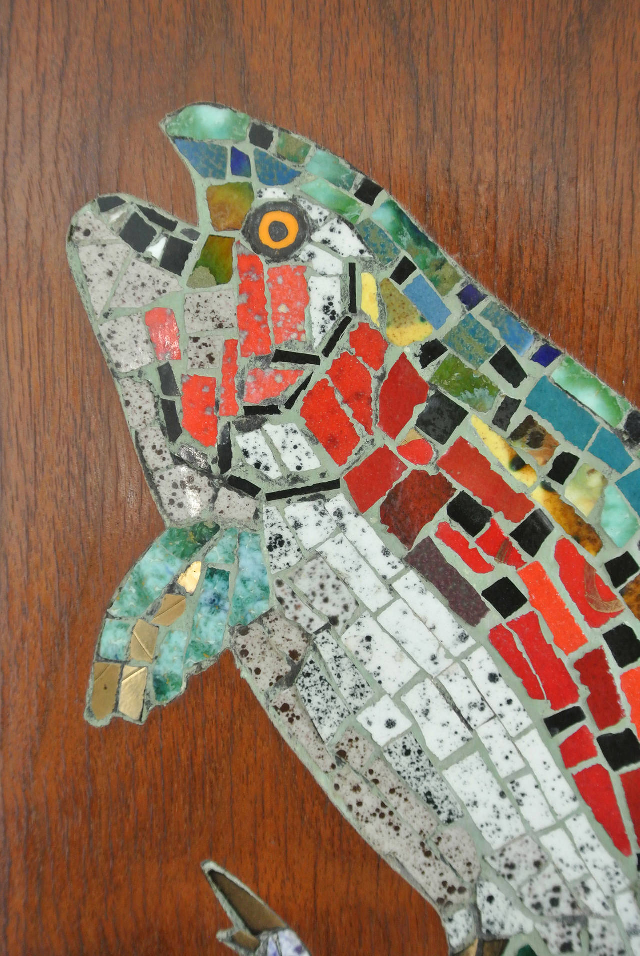 Mosaic Trout Wall Clock, 1967, Californian Mid-Century Studio Crafted Signed In Excellent Condition For Sale In Camden, ME