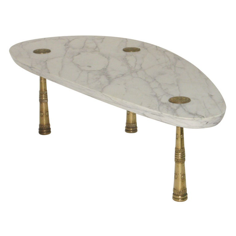 Coffee Table With Bronze Legs: Monteverdi-Young, Mid Century Marble Cocktail Table With