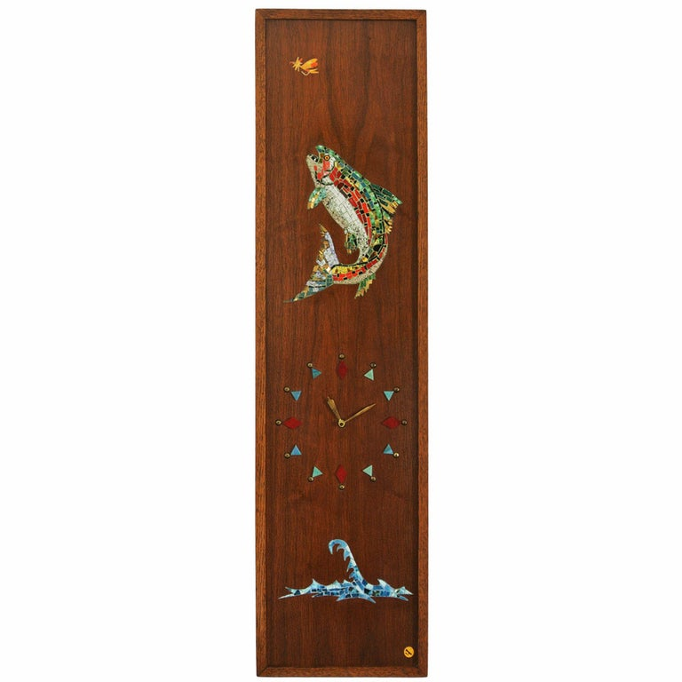 Mosaic Trout Wall Clock, 1967, Californian Mid-Century Studio Crafted Signed For Sale
