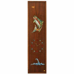 Californian Mid-Century Studio Crafted Signed Mosaic Trout Wall Clock, 1967