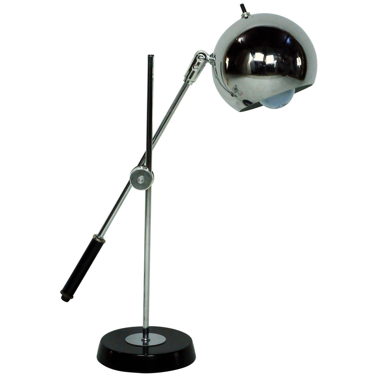 Table lamp adjustable - Robert Sonneman Chrome Ball Adjustable Table Lamp Circa 1965 1