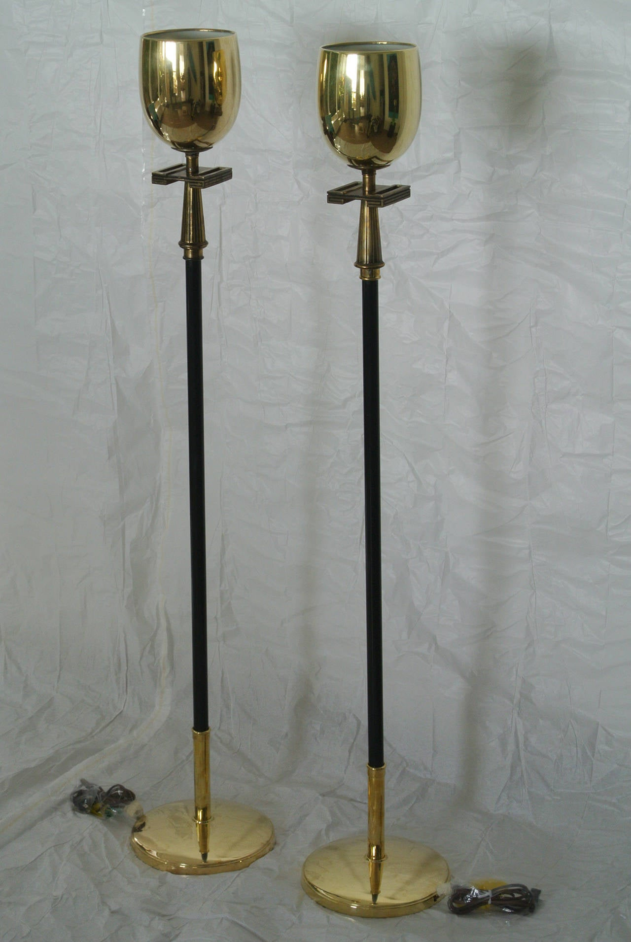 Stiffel pair of brass torchere floor lamps with greek key design stiffel matched pair of professionally restored 1940s brass floor lamps the lamps are in excellent mozeypictures Images