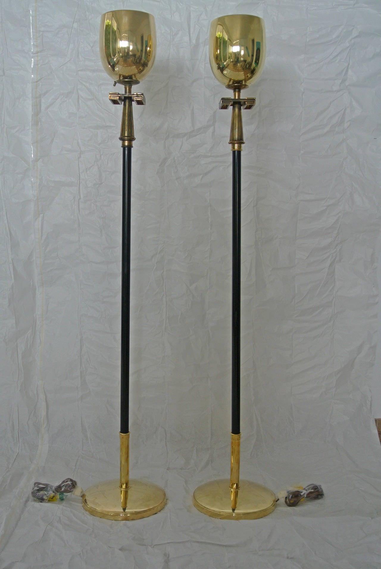Stiffel Pair Of Brass Torchere Floor Lamps With Greek Key