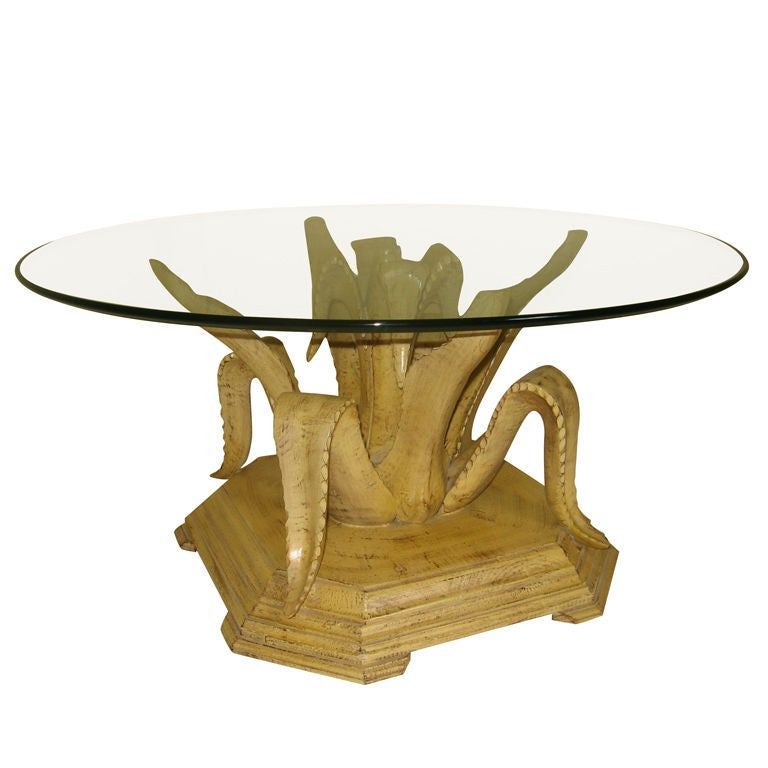 Hand Carved Wooden Agave Coffee Table 1960 S At 1stdibs