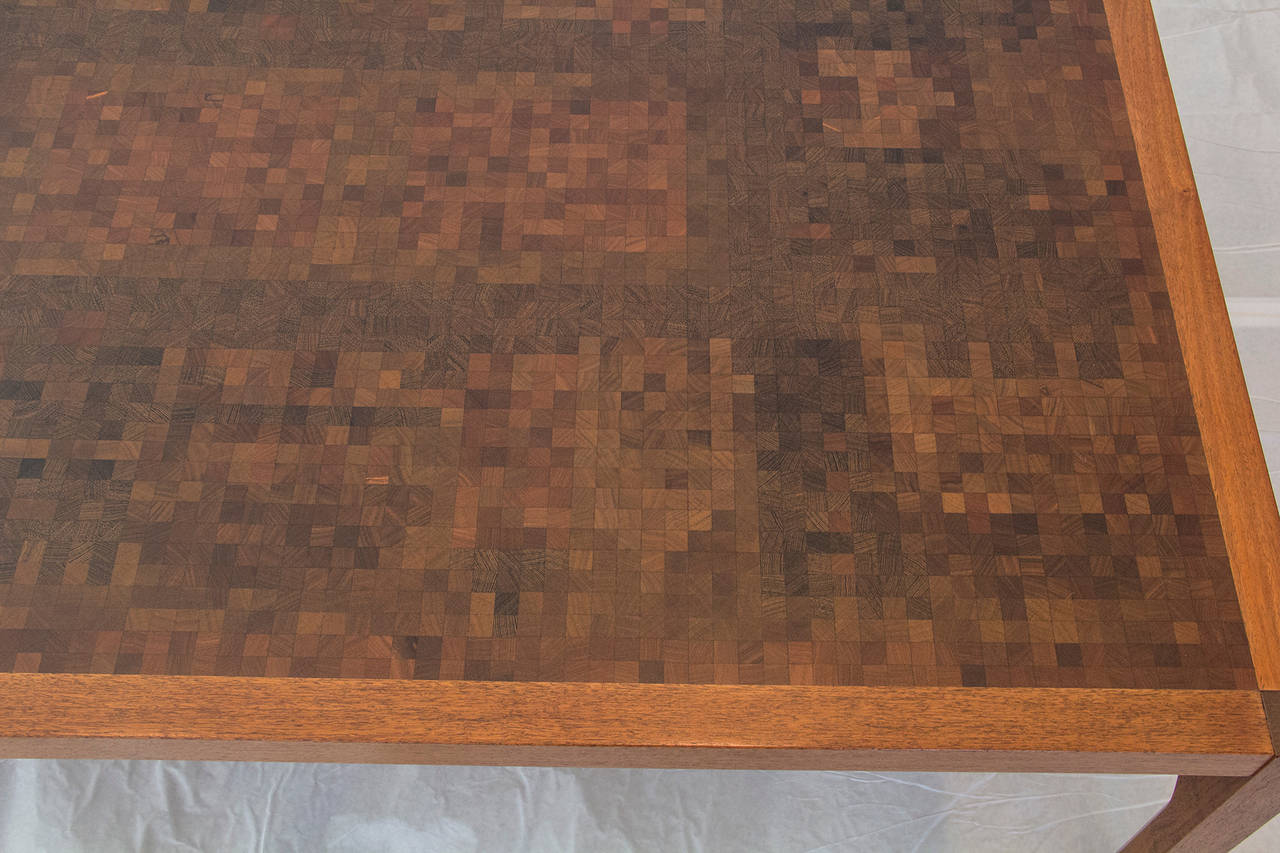 Tranekaer Studio Denmark Handcrafted Mosaic Exotic Woods Coffee Table, 1970s In Good Condition For Sale In Camden, ME