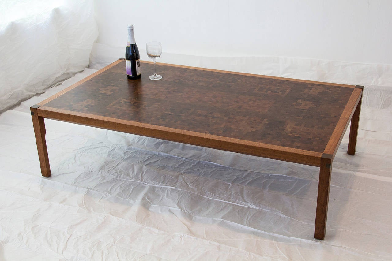 Tranekaer Studio Denmark Handcrafted Mosaic Exotic Woods Coffee Table, 1970s For Sale 1