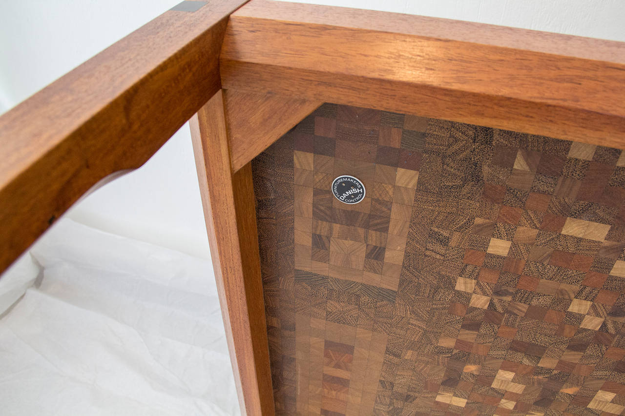 Carved  Tranekaer Studio Denmark Handcrafted Mosaic Exotic Woods Coffee Table, 1970s For Sale