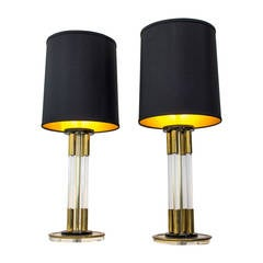 Pair Of Vintage Lucite And Brass Table Lamps Circa 1970