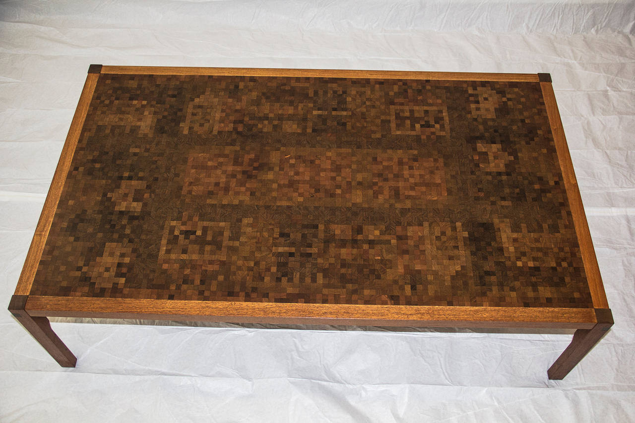 20th Century  Tranekaer Studio Denmark Handcrafted Mosaic Exotic Woods Coffee Table, 1970s For Sale