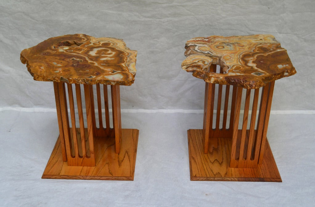 Agate topped side tables 1960s. Custom designed at a California studio for a modernist architect designed mountain retreat high in the Sierra Nevadas. The tables are in excellent condition.