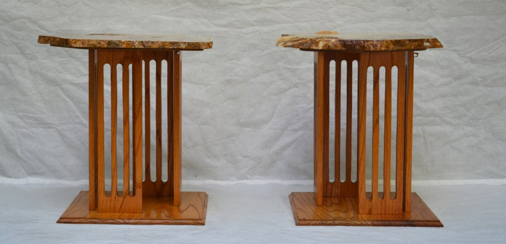 Mid-Century Modern Hand-Crafted Californian Studio Polished Stone Top End Tables from the 1960s For Sale