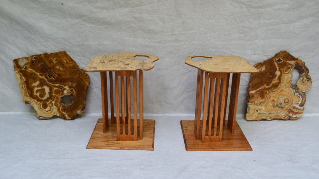 American Hand-Crafted Californian Studio Polished Stone Top End Tables from the 1960s For Sale
