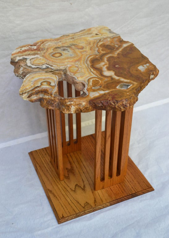Hand-Crafted Californian Studio Polished Stone Top End Tables from the 1960s In Excellent Condition For Sale In Camden, ME