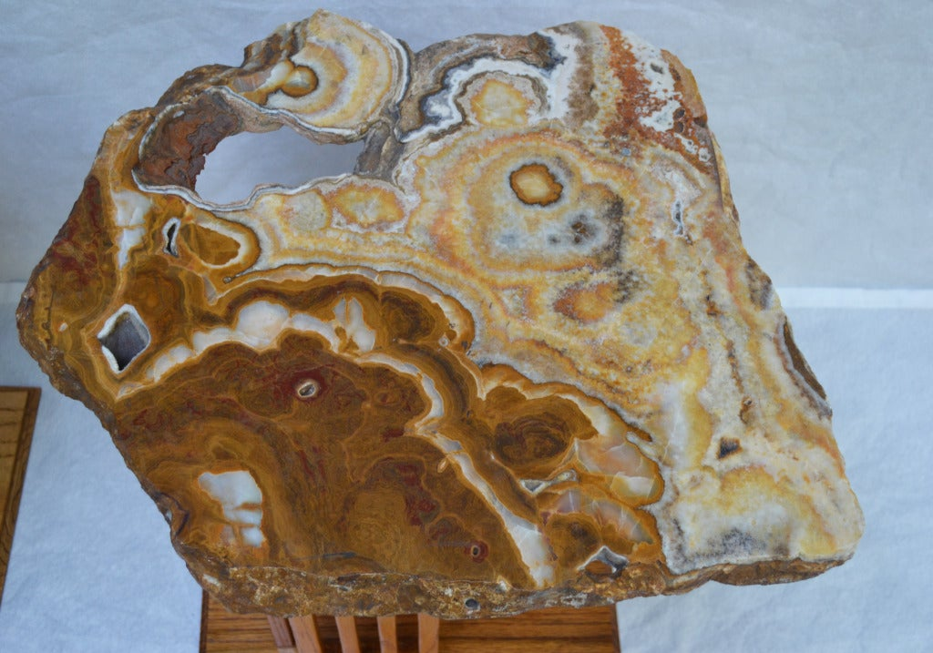 Hand-Crafted Californian Studio Polished Stone Top End Tables from the 1960s For Sale 2