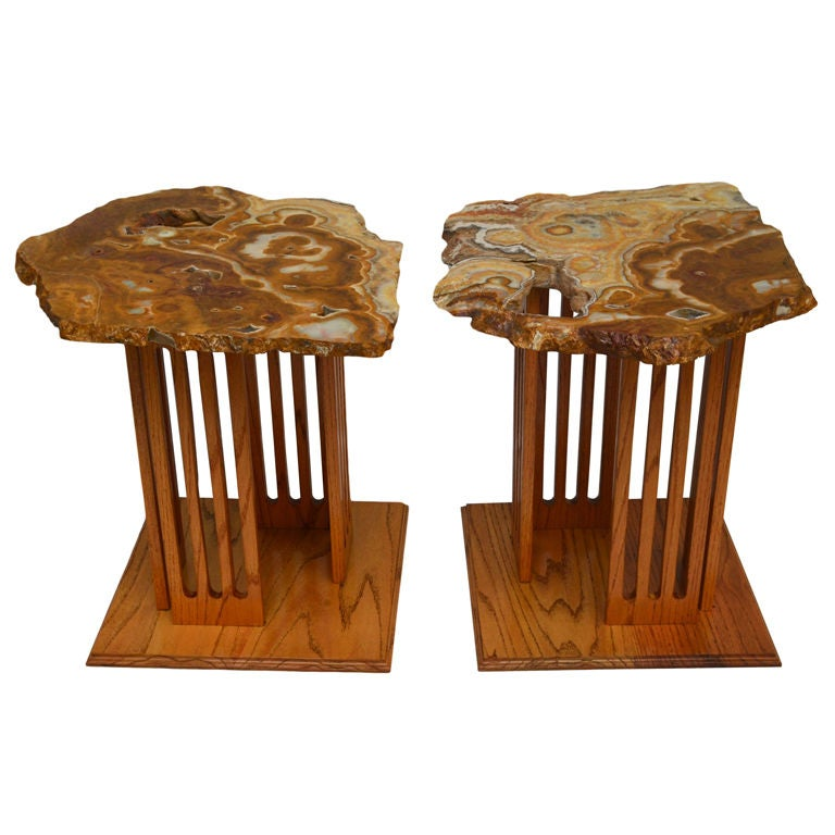 Hand-Crafted Californian Studio Polished Stone Top End Tables from the 1960s For Sale