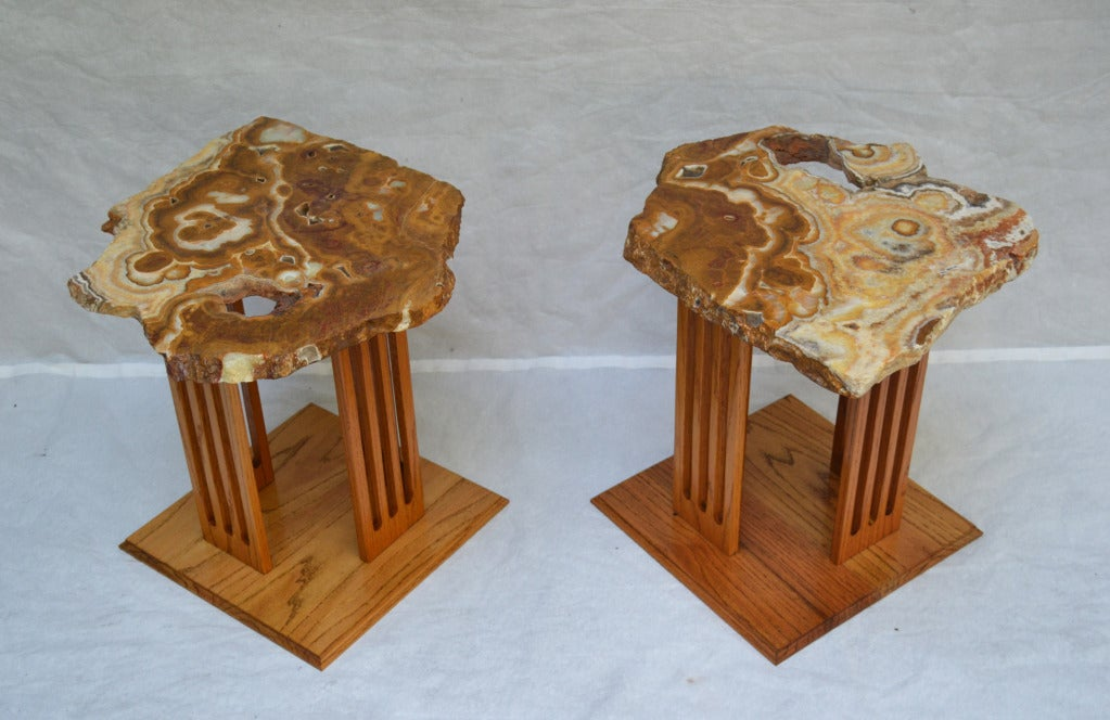 Onyx Hand-Crafted Californian Studio Polished Stone Top End Tables from the 1960s For Sale