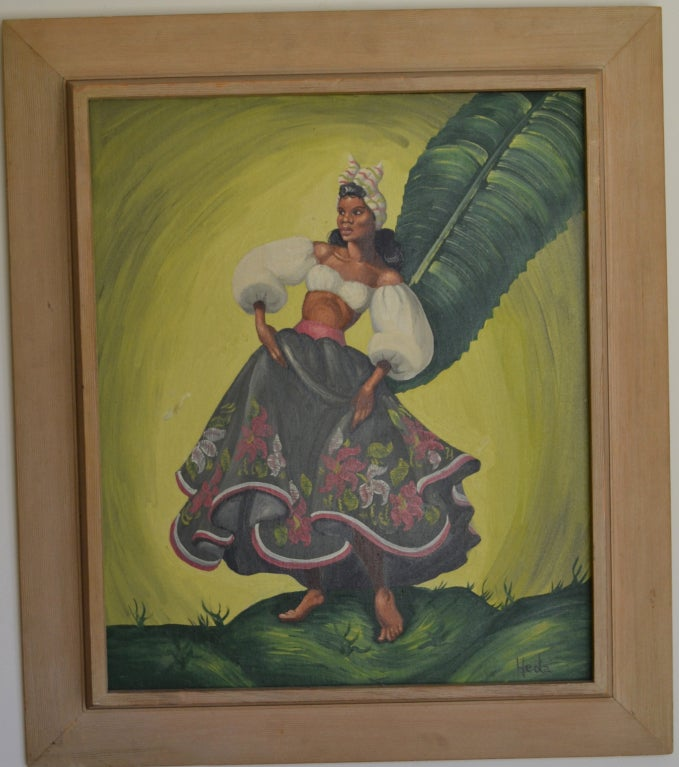 Painting of tropical Dancers signed: Heda, 1960s For Sale 4