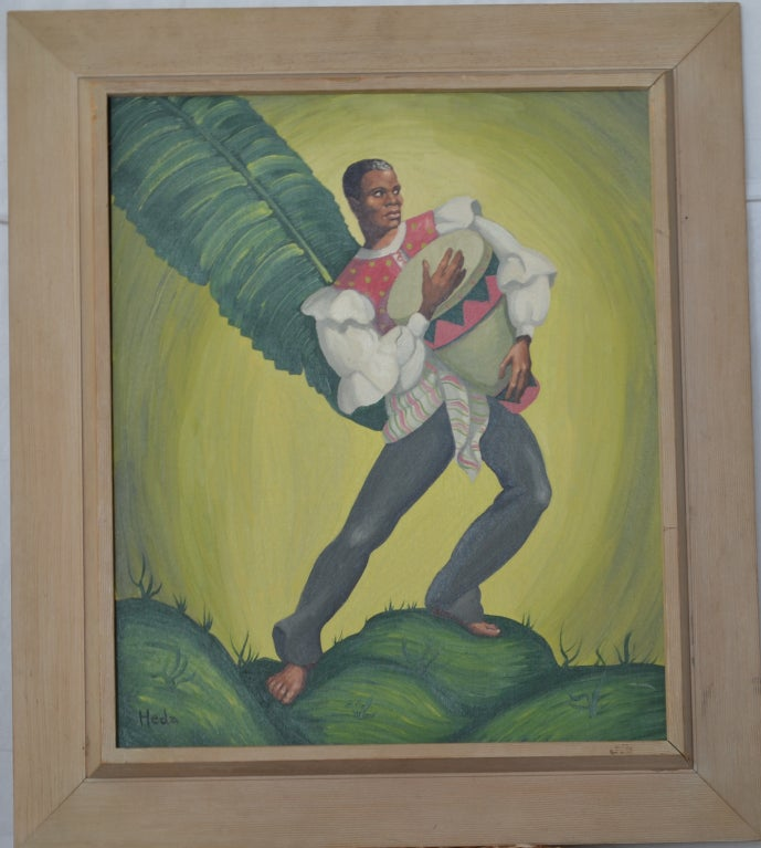 Painting of tropical Dancers signed: Heda, 1960s In Good Condition For Sale In Camden, ME