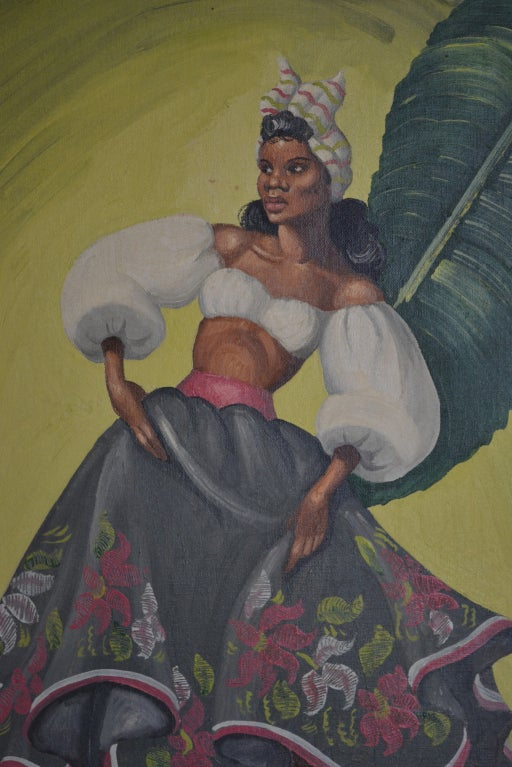 20th Century Painting of tropical Dancers signed: Heda, 1960s For Sale