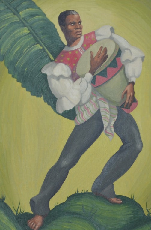 Painting of tropical Dancers signed: Heda, 1960s For Sale 2