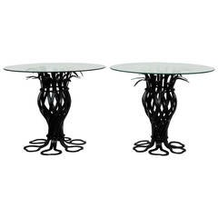 Salterini Style Pair of Woven Wrought Iron Pineapple End Tables, circa 1970