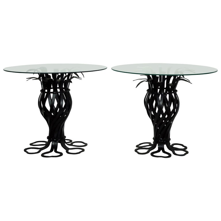 Salterini Style Pair of Woven Wrought Iron Pineapple End Tables, circa 1970 For Sale