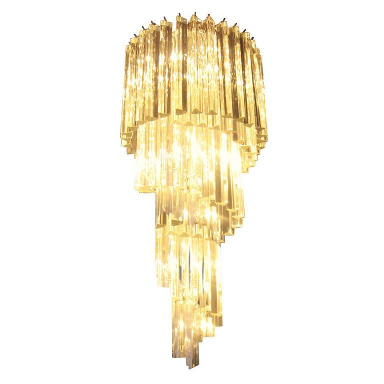 Murano Spiral Chandelier: Italian Murano Glass Spiral Chandelier 1960's At 1stdibs