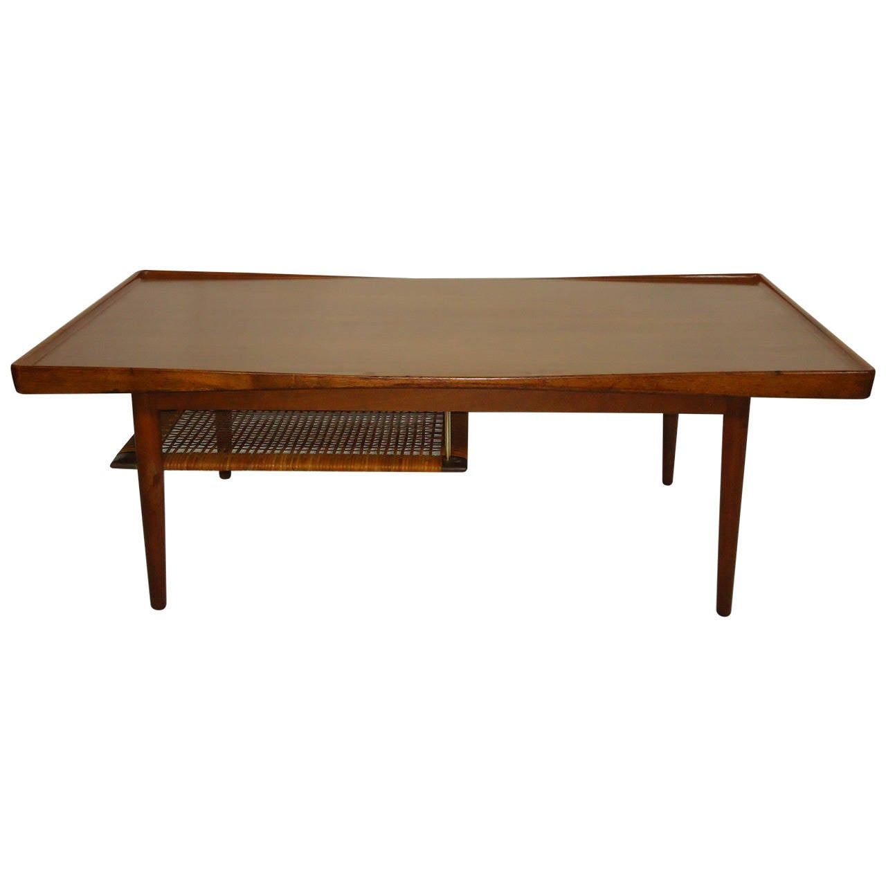 Poul Jensen Selig Coffee Table Teak and Cane Denmark, 1950s